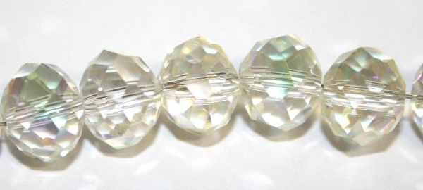 70pcs x 10mm Clear with light green rondelle glass beads -- S.T05 -- 3005557